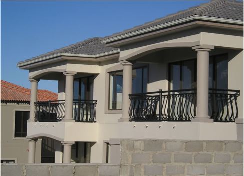 decorative styled curved black railings for balcony