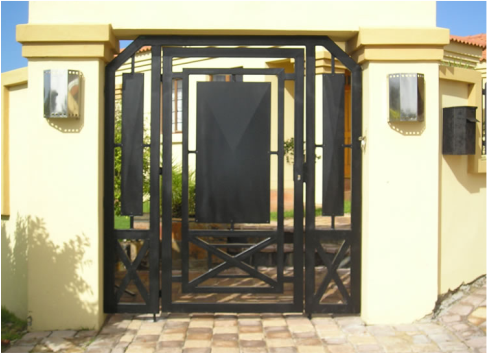 Part covered metal black paneled security gate produced and installed by Twisted Steel